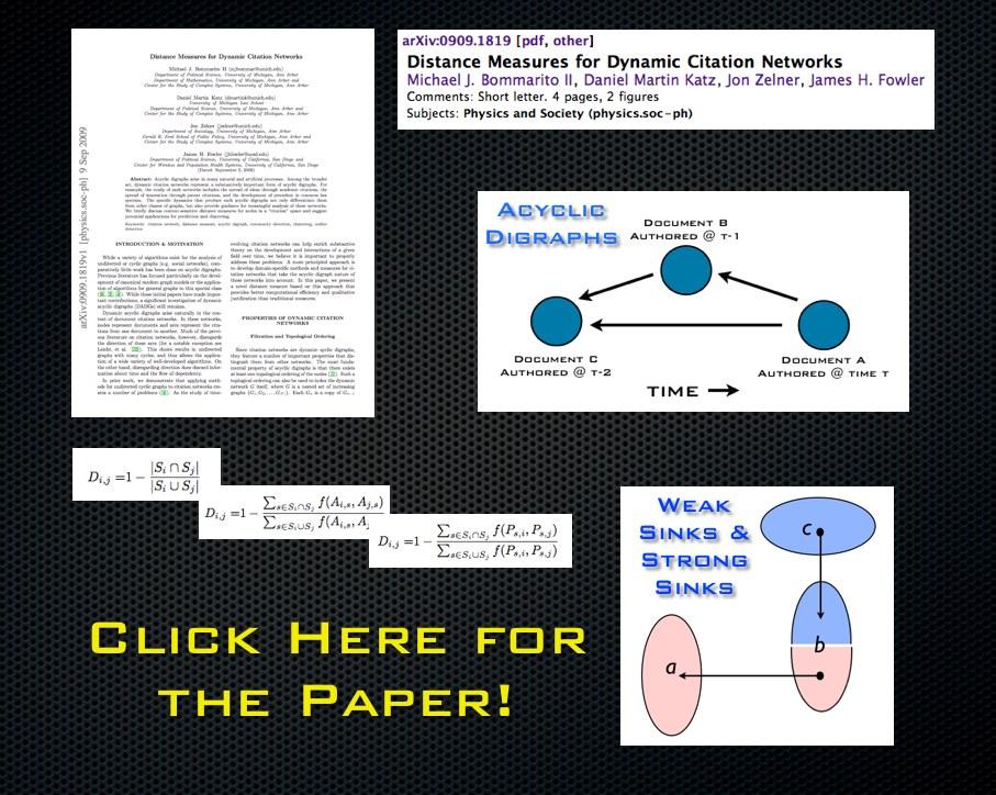 Distance Measures for Dynamic Citation Networks
