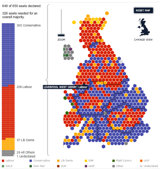 Map Of Uk General Election Results.Uk General Election 2010 Interactive Results Map Via Telegraph