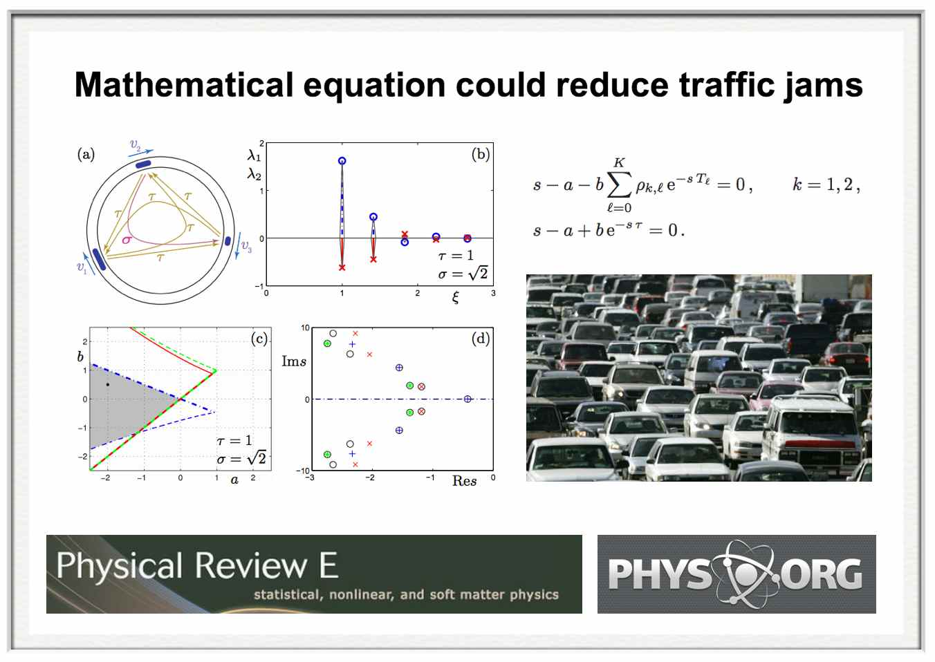 mathematical equation could reduce traffic jams  via phys
