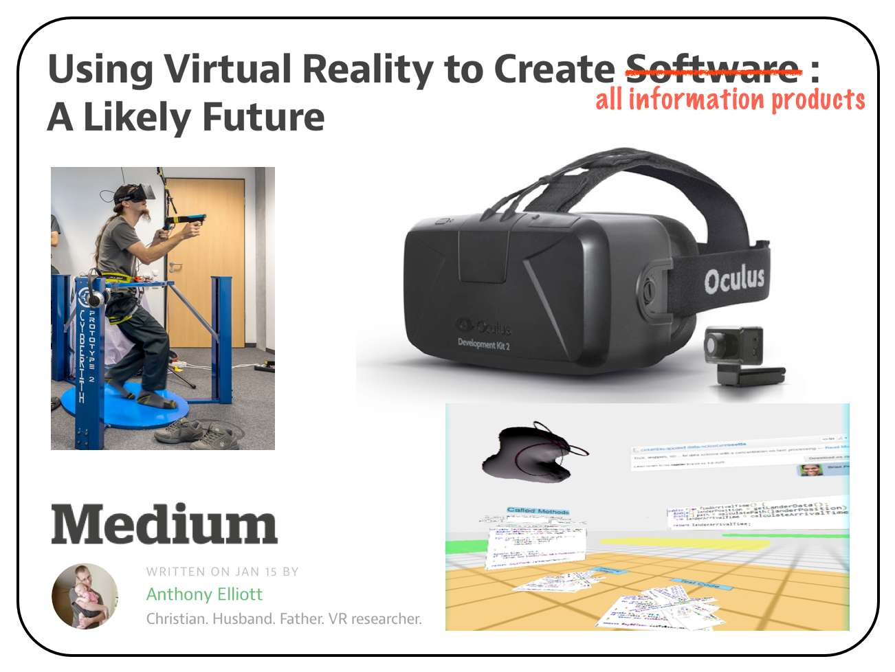 Using Virtual Reality to Create Software
