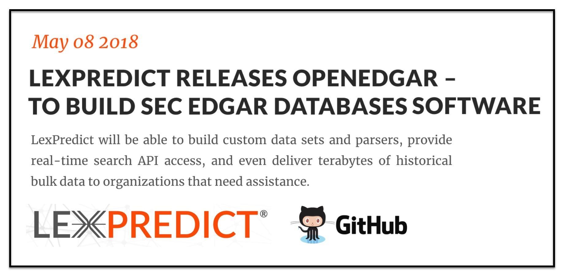 LexPredict New Open Source Offering - OpenEDGAR - for Building